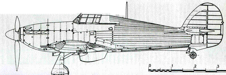 Hawker Hurricane MkIIC советский вариант с четырьмя пушками ШВАК вместо Испано