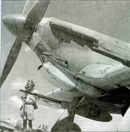 «Харрикейн IID» 6-й эскадрильи. Хорошо видны детали подвешенной под крылом 40- мм пушки.