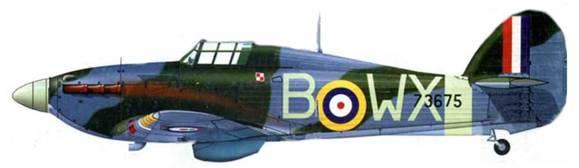 «Харрикейн Mk IIА», Z3675, WХ-В, 302-я «познаньская» эскадрилья, Чёрч-Стентон, начало сентября 1941 года.