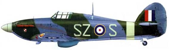«Харрикейн Mk IIВ», Z2405, SZ-S, пилотированный флайт-лейтенантом Александром Габшевичем из 316- й «варшавской» эскадрильи. Обратите внимание на нетипичную кокарду на фюзеляже и эмблему довоенной польской 114-й истребительной эскадрильи (ласточки на голубом треугольнике). Чёрч-Стентон, лето 1941 года.
