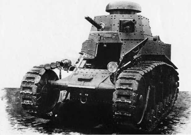 Легкий танк Т-18 (МС-1) первой серии. 1929 год. В башне хорошо видна спарка пулеметов Федорова-Иванова.