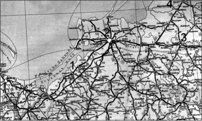 Карта северной Восточной Пруссии показывает службуАльфреда Руббеля в гарнизонах Браунсберг (1), Кенигсберг (2), Инстербург (3)и Тильзит (4).