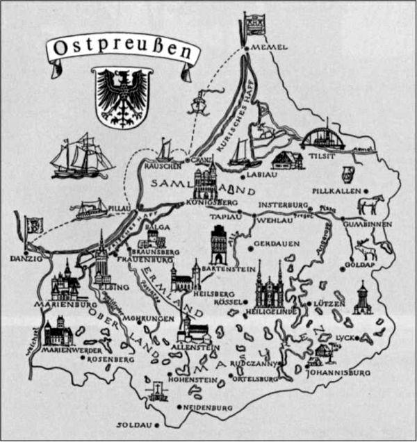 Обзорная карта Восточной Пруссии. Эрмланд был католическим анклавом в протестантской ВосточнойПруссии.