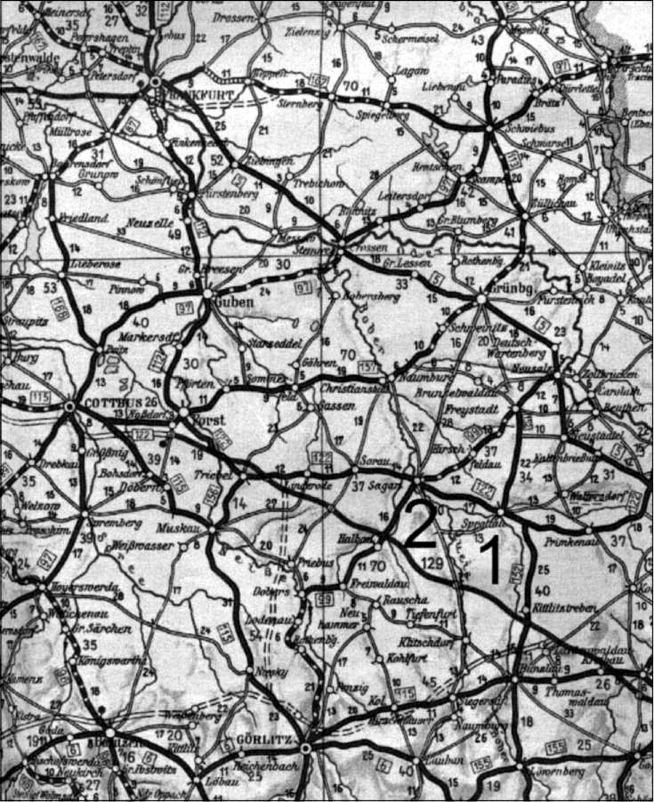 Карта Силезии с указанием мест: 1 — Шпроттау и 2 — Заган, которые находились на Имперской дороге между Коттбусом и Бреслау.