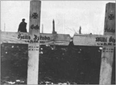 Ефрейтор Ханс Дцруба, фельдфебель Вилли Оелс и еще два товарища стали жертвой атаки партизан на ремонтный полувзвод 1-й роты 503-го тяжелого танкового батальона 14 января 1944 года у Жмеринки/Винницы. На фото могилы двух из четырех павших солдат.