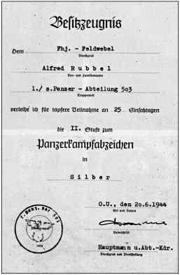 Свидетельство на значок за танковый бой 2-й степени АльфредаРуббеля, подписанное РольфомФромме 20 июня1944 года.