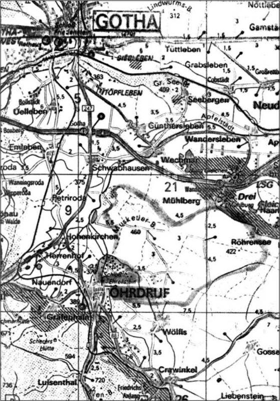 Полигон в Ордруфе начинался западнее города и охватывал район от горы Мушкетеров до Рорензее.