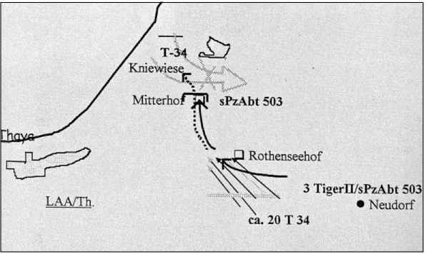 Набросок карты боя «Королевских Тигров» 503-го тяжелого танкового батальона у Миттерхофа.