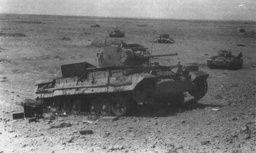 Боевые машины 23-й танковой бригады, подбитые у Эль-Аламейна. Июль 1942 года