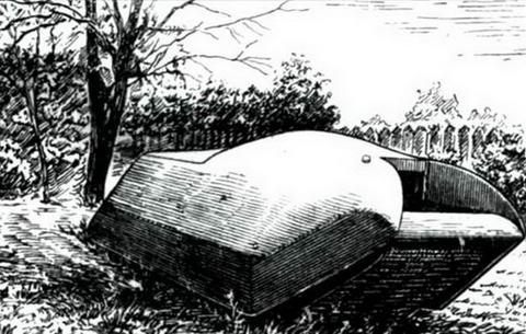 «Вездеход»во время испытаний на полковом дворе. Рисунок выполнен с фотографии. 1915 г.