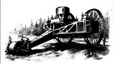 Общий вид танка Н. Лебеденко в Орудьево. Рисунок выполнен по фотографии, 1917 г.