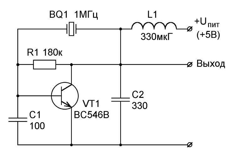 Кварцевый генератор 10 мгц схема