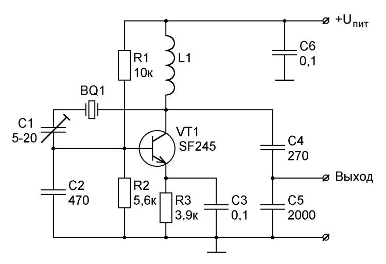 lc-генератор на биполярном транзисторе с индуктивной обратной связью и последовательным питанием