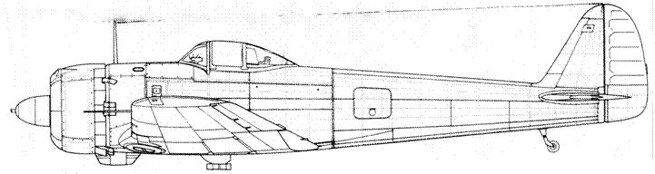 Ki 43-II-Каи с дополнительным топливным баком за кабиной пилота