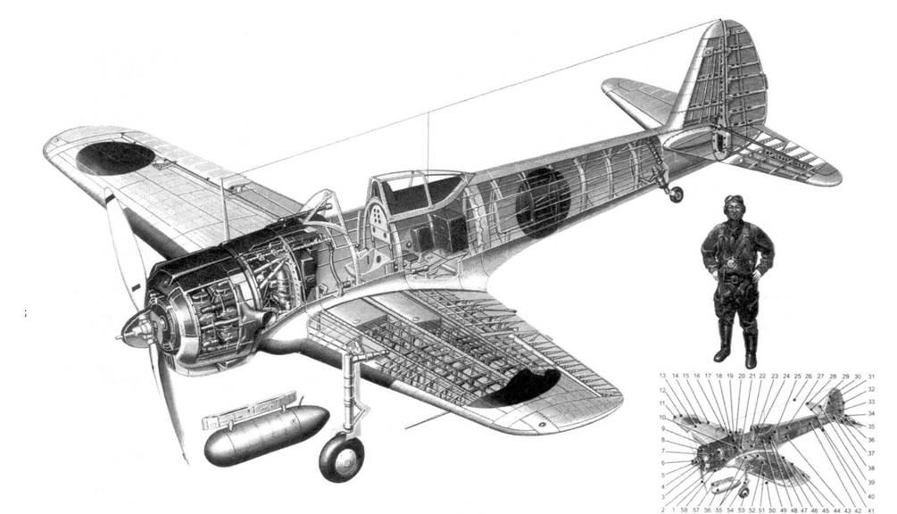 Компоновочная схема <a href='https://arsenal-info.ru/b/book/575987455/1' target='_self'>Ki 43</a>-I Хей: