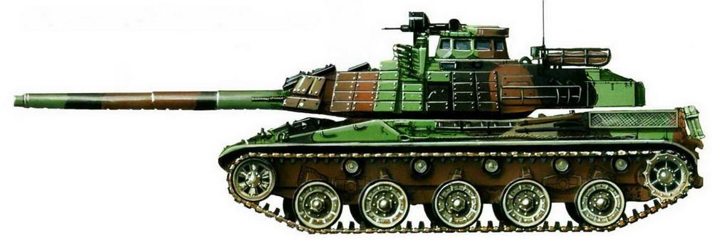 АМХ-30В2 с элементами динамической защиты в типовом трехцветном камуфляже французской армии. 2004 г.