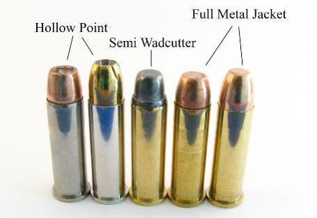Патроны .38 Special с экспансивными (Hollow Point), оболочечными (Full Metal Jacket), и безоболочечной (Semi Wadcutter)