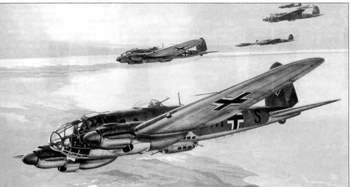 """Не-111Н-3 («1H+AS») возглавляет группу других бомбардировщиков из III Gruppe Kampfgeschwader-26 """"Lowengeschwader"""" в налете на Ньюкастл 15 сентября 1940г. В период Битвы за Британию бомбардировщики из KG-26 базировались на норвежском аэродроме Ставангер-Сола. Отражая налет 72 Не-111 на Ньюкастл, британские истребители сбили восемь бомбардировщиков."""