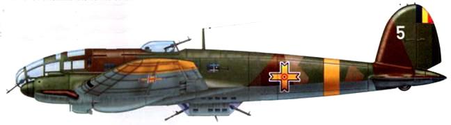 Не-111 Н-3(5) одного из бомбардировочных подразделений Королевских ВВС Румынии, середина 1941 г. Самолет окрашен по предвоенной камуфляжной схеме люфтваффе.