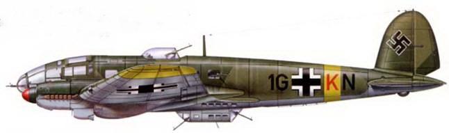 He-111H-3 (1G+KN) из 5/KG-27, Восточный фронт, 1943 г. Носовая шаровая турельная установка перевооружена 20-мм пушкой MG-FF.
