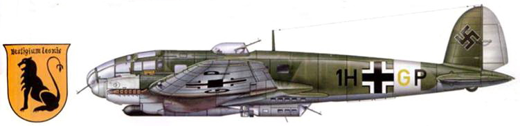 Не-111 Н-6 (1H+GP) из 6/KG-26, самолет применялся для борьбы с судоходством союзников на Средиземном море, Италия, 1942 г. Эмблема эскадры на самолетах II группы изображалась на желтом фоне. Под фюзеляжем подвешена торпеда LT F5b.