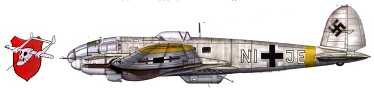 Не-111Н-16 (NI+JE) из 2-го стаффеля Schleppgrupe-4, Восточный фронт, зима 1942-1943 r.r. Поверх стандартной камуфляжной окраски верхних поверхностей (черно-зеленый RLM-70 и темно-зеленый RLM-71) нанесена временная зимняя окраска белого цвета.