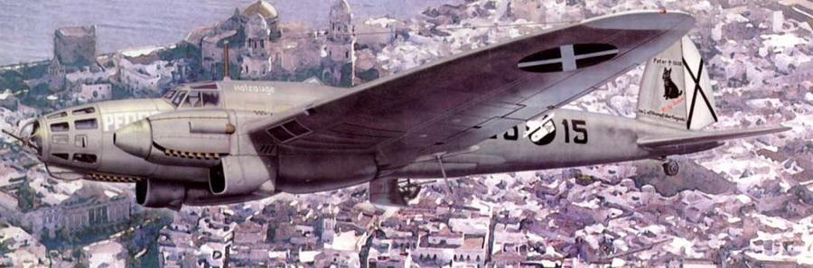 В полете – «Pedro» – один из He 111 В-1 (25-15) 4-го стаффеля 88-й KG, Летом Кондор, северная Испания, 1938 г. Сразу за кабиной видно имя самолета: «Holzauge» (Деревянный глаз). На киле самолета видна картинка, посвященная гибели Питера – шотландского терьера пилота самолета.