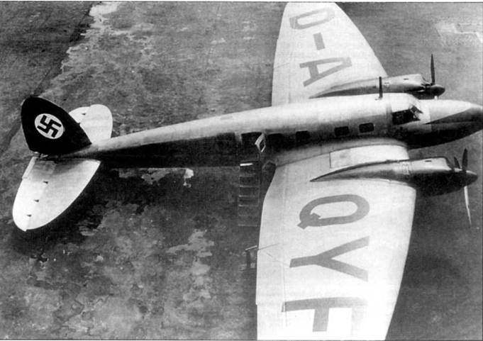 Самолет с регистрацией «D-AQYF» и собственным именем «Лейпциг» был одним из шести предсерийных авиалайнеров Не-111 С-0 постройки 1936 г. Рассчитанный на перевозку десяти писсажиров лайнер начала эксплуатировать авиакомпания Дойче Люфтганза летом 1937г. Самолеты германской авиакомпании не окрашивались, за исключением нанесения на вертикальное оперение нацистского флага. Большинство Не-111 Дойче Люфтганзы с началом войны были реквизированы люфтваффе.