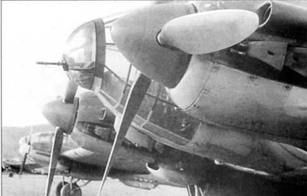 В носовой стрелковой точке Не-111P стоял 7,92-мм пулемет Рейнметалл MG-18. Пулемет монтировался в шаровой турели Икария GD- А1114, сходной с турелями, которые использовались на Не-111 более ранних модификаций. Длина пулемета MG-18 – 108 см, масса 7,1 кг, скорострельность 1100 выстрелов в минуту. Магазины барабанного типа на 75 патронов крепились к казенной части пулемета.