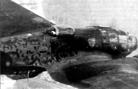 Не-111Р-2 из KG-55 в полете над Северной Францией, конец 1940 г. Хорошо видна верхняя стрелковая точка, закрытая сдвижным прозрачным колпаком.