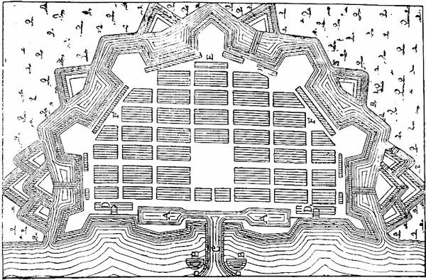 Один из вариантов приморской крепости, приведенный Н.Г. Кургановым в «Книге о науке военной»
