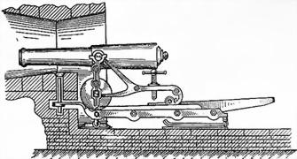 Береговое орудие, установленное в каземате на железном лафете Венгловского