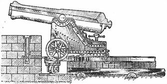 3-пудовая бомбовая пушка образца 1849 года на железном береговом лафете