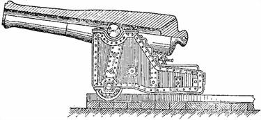60-фунтовая береговая пушка Маиевского на железном береговом лафете Андреева