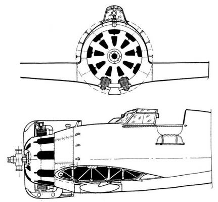 Компоновка винтомоторной группы и вид на внутренние капоты серийного И-16 тип 4.