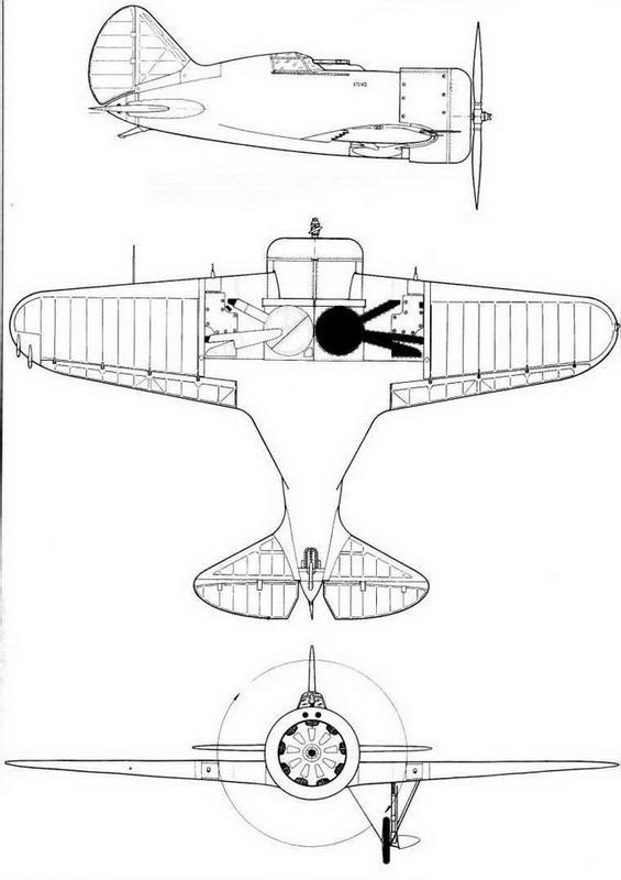 Серийный И-16 тип 4 с отдельными крышками узлов навески рулей.