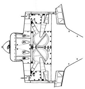 Вид снизу на центроплан И-16 тип 5.