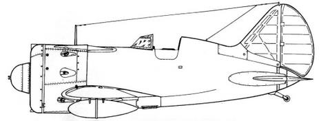 Вид слева И-16 тип 29 с каплевидными подвесными баками.