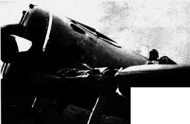 И-16 тип 10 В.Т. Скабарихина после тарана японского самолета.