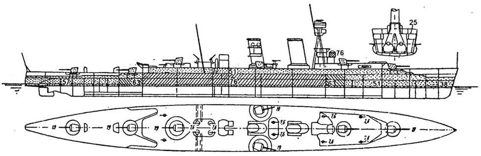 Британский «Хоукинс», вместе с четверкой однотипных кораблей заложенный в конце первой мировой войны для действий против германских рейдеров, стал прототипом многочисленного семейства «вашингтонских» или «тяжелых» крейсеров