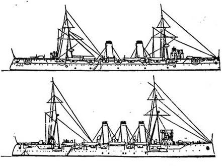 """«Касаги» (вверху) и """"Цусима"""" - типичные крейсера- разведчики времен русско-японской войны"""