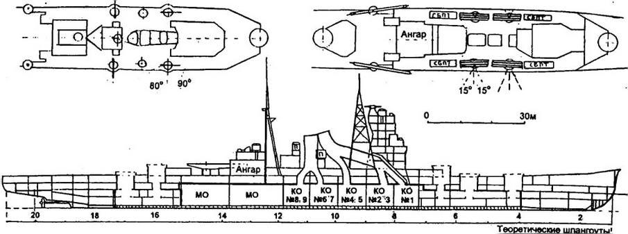 На фрагментах: палуба зенитных орудий (шельтердек) и верхняя палуба в средней части корпуса.