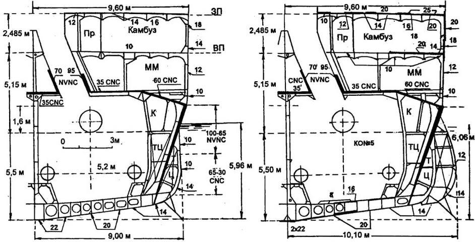 ММ - механическая мастерская, Пр - проход, К - коридор для кабелей, ТЦ - топливная цистерна. Толщины плит брони CNC и NVNC и элементов набора из стали D даны в мм