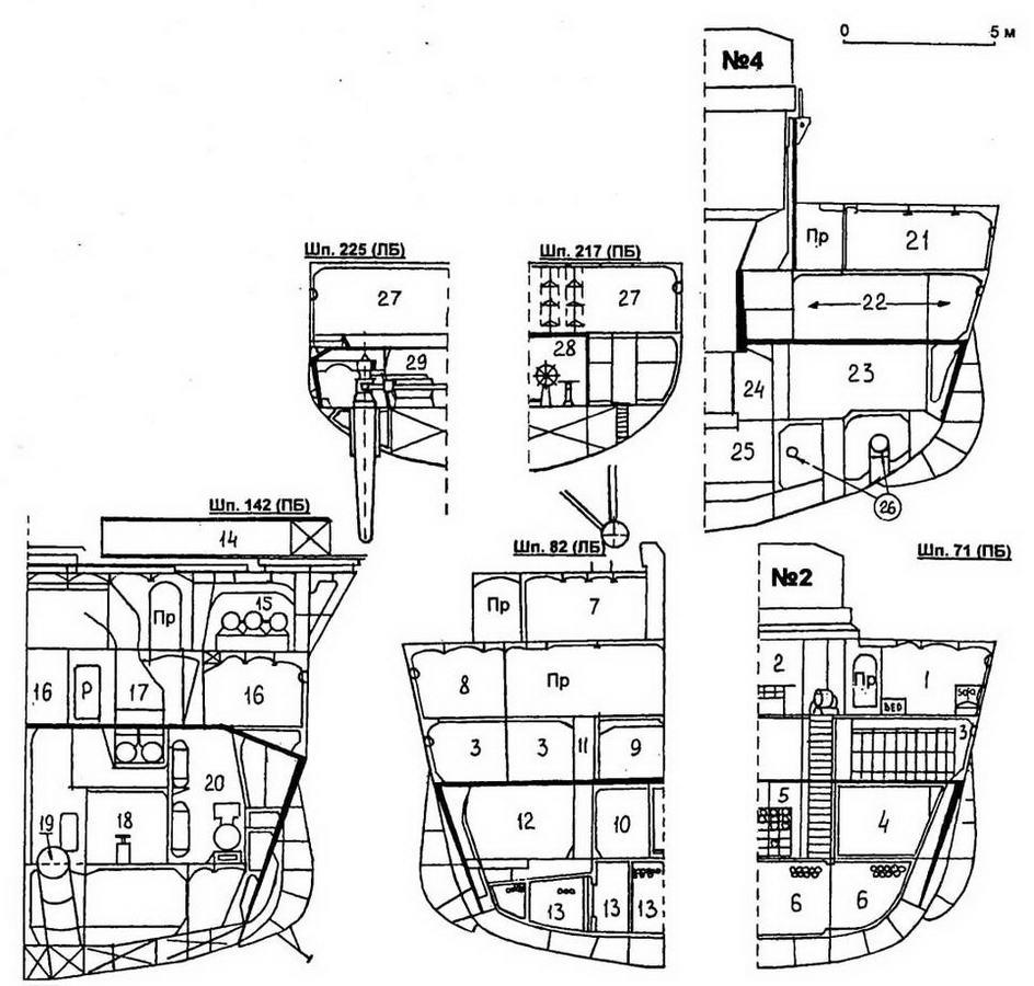 1 - офицерская каюта; 2 - офицерская кладовая; 3 - кубрик №7 (с индивидуальными рундуками; 4 - вычислительный (командный) пост управления огнем ГК с компьютером типа 92; 5, 6 - снарядный и зарядный погреба башни ГК №3 (плоская нижняя палуба из 40 мм брони CNC соединена с наклонным под 20° поясом из 140-30 мм брони NVNC); 7 - каюты коандира; 8 - кают-компания инженеров; 9 - пост дешифровки; 10 - носовой трансформаторный отсек; 11 - подъемник 12,7-см боезапаса; 12,23-отсекитурбогенераторов(300 кВт); 13-погреб 12,7-см боезапаса №2; 14 - катапульта типа Куре модели 5 №2; 15 - ТА №3 типа 90 модели 1; 16, 22 - кубрики №3 и №8; 17 - носовые воздухозаборники кормового МО №3; 18 - пост управления турбинами; 19 - конденсор: 20 - насосный отсек (средняя бронепалуба - 35 мм. CNC в плоской части и 60 мм CNC на скосах - соединена с наклонным поясом толщиной 100-25 мм NVNC-CNC; 21 - каюты кондукторов; 24, 25 - перегрузочные снарядное и зарядное отделения башни ГК №4 (броня барбета до СП - 25 мм CNC, между СП и НП - 75-100 мм NVNC; плоская нижняя бронепалуба - 40 мм CNC, пояс 140- 30 мм NVNC); 26 - гребные валы; 27 - кубрик №6 с 3-ярусными койками из стальных труб; 28 - отсек рулевой машины; 29 - рулевой отсек с левым рулем (борт 100 мм NVNC, палуба 30 мм CNC).
