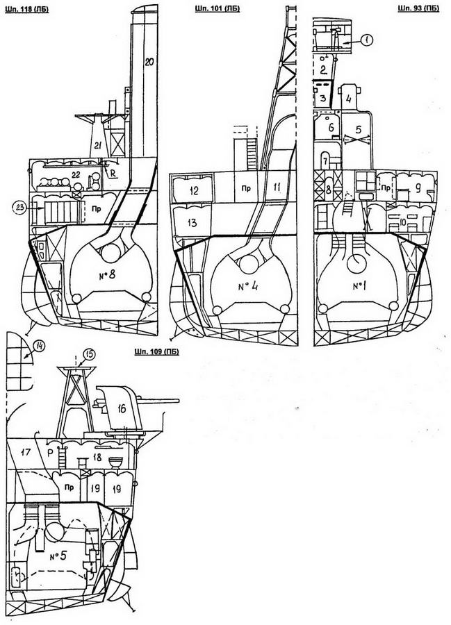 1 - мостик с компасом и 12-см биноклями; 2 - ходовая рубка; 3 - боевая рубка (броня стен 100 мм NVNC, крыши 50 мм); 4 - башенка с 1,5-м штурманским дальномером; 5,17- воздухозаборники КО №1 и КО №5; 6 - каюта отдыха флаг-офицера; 7 - штурманская рубка; 8 - склад; 9 - офицерский камбуз; 10 - каюта унтер-офицеров; 11 - дымоход котла №4; 12 - носовая радиорубка и пост корабельной связи; 13 - ванная командира; 14-дымовая труба; 15-вышка для 110-см прожектора №1; 16-спаренная установка 12,7-см орудий типа 89 (модель А1, модиф. 1); 18 - камбуз команды; 19 - механическая мастерская; 20 - кормовая дымовая труба с бронированным дымоходом котла №8; 21 - спаренная установка 25-мм автоматов типа 96 №2; 22 - носовой торпедный пост с ТА №2, резервными торпедами и подвесным рельсом (R); 23 - раздевалка команды