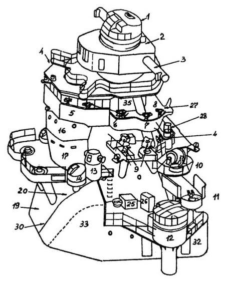 """1 - башня директора ГК типа 95; 2 - башня дальномера ГК типа 94; 3 - 6-метровый дальномер; 4 - пост ручного семафора; 5 - компасный мостик с компасом, 12-см и 18-см биноклями; 6 - пост управления орпедной стрельбой типа 92; 7 - торпедный директор типа 91 модели 3; 8 -12-см бинокль; 10-сигнальный 60-см прожектор; 11 - пост наблюдения за воздухом; 12-директор типа 9112,7-см орудий в башне; 13-башенка с 1,5-м штурманским дальномером; 14 - пост наблюдения за морем; 15 - позиции спаренных 13-мм пулеметов% 16 - ходовая рубка; 17 - бронированная боевая рубка (и аварийный командный пост №1); 18 - радиорубка; 19 - штурманская рубка; 20 - каюта отдыха командира (ЛБ) и флагмана (ПБ); 21, 22 - радиотелефонные поста №2 и №2; 23 - офицерский туалет; 24,33 - воздухозаборники КО №1 и №2; 25 - рундук с сигнальными ракетами; 26 - рундук с материалами для устройств УЗО; 27 - трап; 28 - сигнальный пост; 29 - радиотелефонный пост №1 (на """"Кумано"""" и """"Судзуя""""); 30 - прокладочная; 31 - аварийный командный пост №2; 32 - артиллерийская кладовая; 34 - рубка связи; 35 - электрощитовая верхнего мостика"""