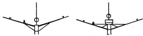 """Рей после достройки (слева) и после """"Третьей модернизации' (установлен наблюдательный пост или пост УТС)"""