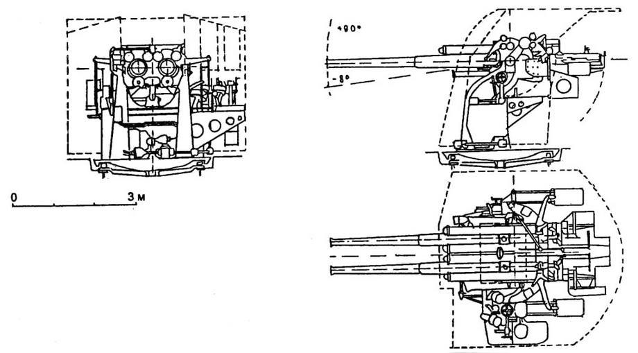 """Пунктирной линией показаны контура ветрового щита (установка """"модели А модиф.1"""" Некоторые гидравлические трубопрбводы не показаны, чтобы не загромождать чертеж"""