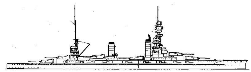 Линейный корабль «Фусо». 1928 г, (Наружный вид и вид сверху)