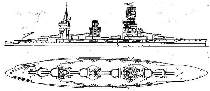 """Линейный корабль """"Ямаширо"""". 1937 г. (Наружный вид и вид сверху)"""
